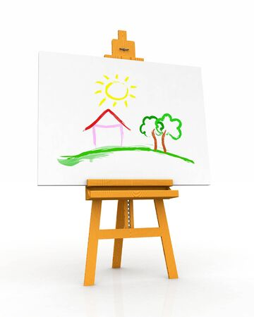 Wooden easel with canvas - Home photo