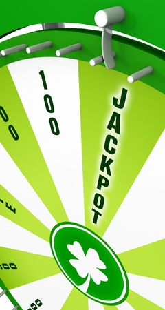 3D Wheel of Fortune - Jackpot concept of Green  photo