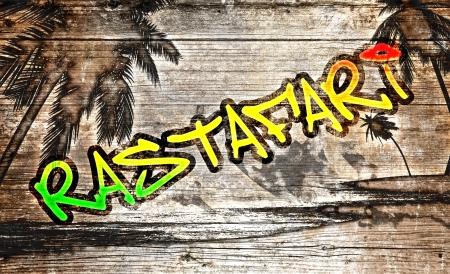 reggae: Rastafari graffitis sur planche de bois vieux