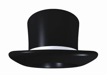 conjure: Black top hat against a white background Stock Photo