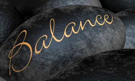 Black Stone with Text - Balance Stock Photo
