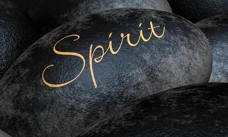 Black stones with text - Spirit Stock Photo - 13823562