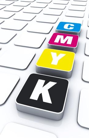 printing logo: CMYK 3D Concept Pad Stock Photo