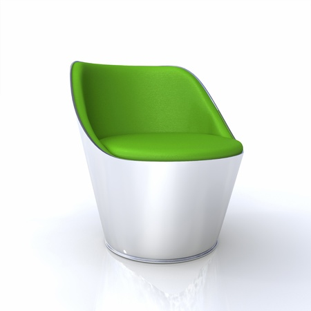 designer chair: Designer Silver Chair Green Stock Photo
