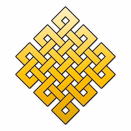 Tibetan endless knot - gold - Square - Diagonal Stock Photo - 13844258