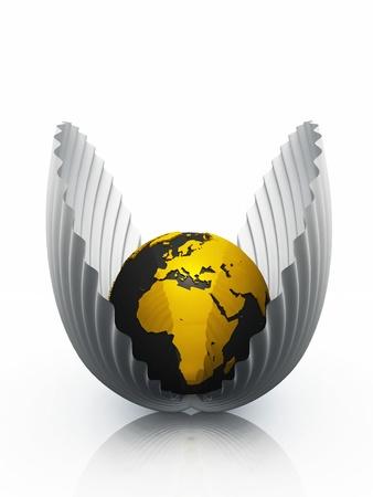 logotipo de construccion: Mundo en 3D en las conchas de mejillón - negro y oro