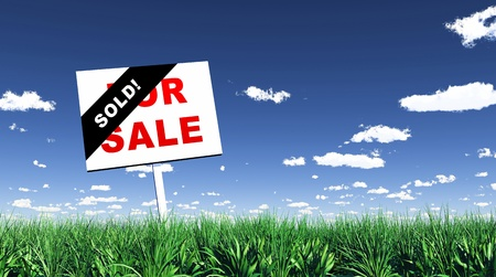 grass plot: Sign in the grass - Sold Stock Photo