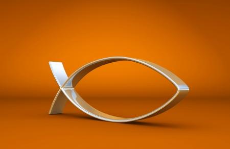 jesus fish: 3D ICHTHYS silver on Orange 01