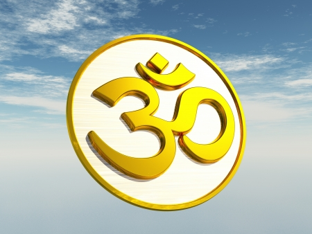 Aum Om 3D characters with gold sky photo