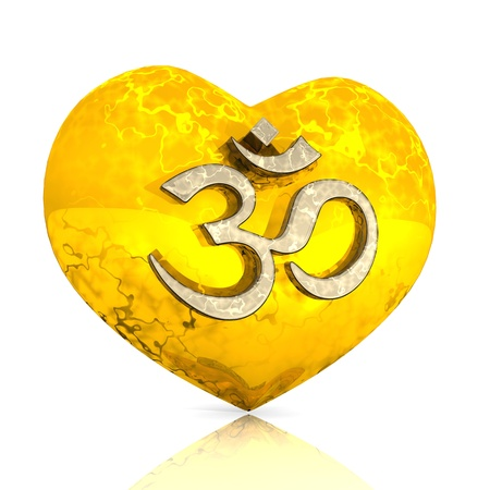 3D - OM sign on golden heart Stock Photo - 13915053