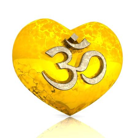 3D - OM sign on golden heart Stock Photo - 13915053