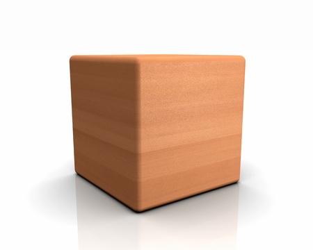 beech: 3D rounded cube timber - European beech Stock Photo