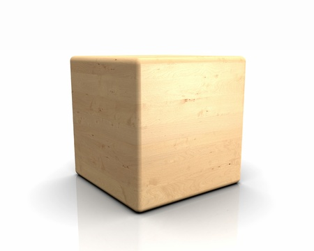 3D wooden cube with rounded ends - Birch Birch apple photo