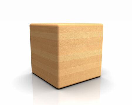 beech: 3D rounded cube timber - Beech Natural Stock Photo