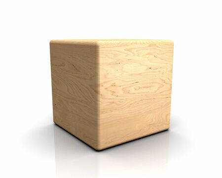 laminated: 3D rounded cube wood - birch, peeled