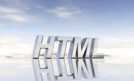 Silver text - HTML Stock Photo - 13915034