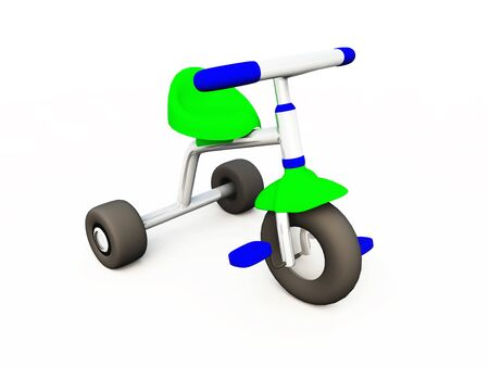 Blank 3D Tricycle - green blue - 04