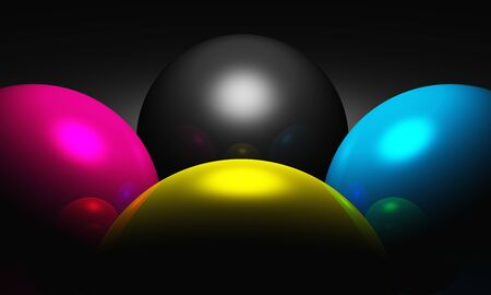 3D - CMYK balls - light and shadow photo