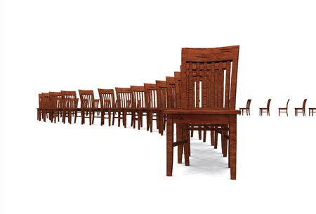 3D row of chairs - Brown 02 Stock Photo - 13920188