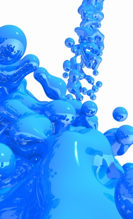 3d dimensional: Liquid Blue on white background - 02 Stock Photo
