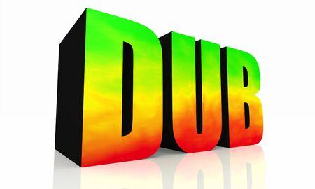 reggae: 3D texte isolé DUB - vert jaune rouge