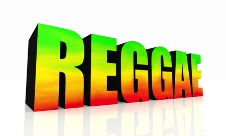 rasta: 3D text reggae isolated - green yellow red
