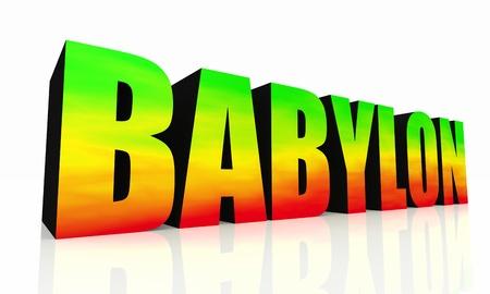 reggae: 3D texte isolé Babylone - vert jaune rouge
