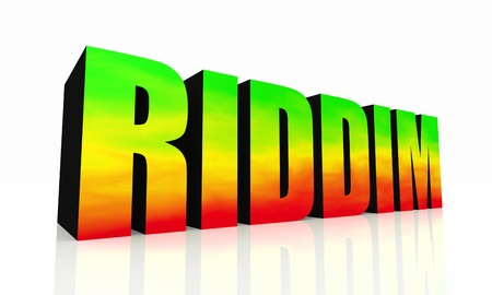 rasta: 3D Text isolated RIDDIM - green yellow red Stock Photo
