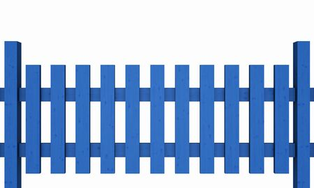 03: 3D wooden fence - free blue 03 Stock Photo