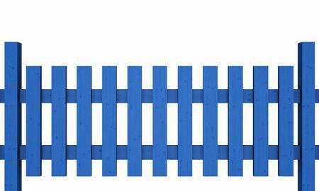 plot: 3D wooden fence - free blue 03 Stock Photo