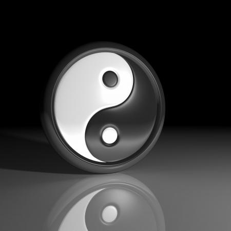 3D - Yin and Yang symbol at night photo