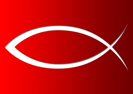 symbol: Christian fish symbol sign red curve
