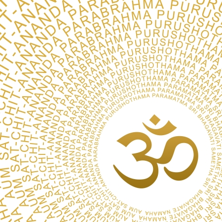 sexual chakra: AUM OM symbol with golden characters Moolamantra