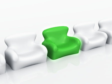 designer chair: Design armchair variety - bright green Stock Photo