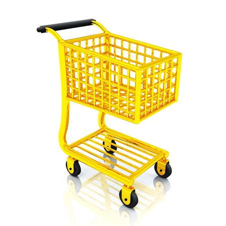 cart cash: Gold Shopping Cart - Shopping Cart Gold Stock Photo