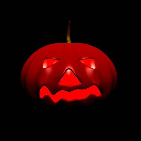 three story: Halloween pumpkin red on black Stock Photo
