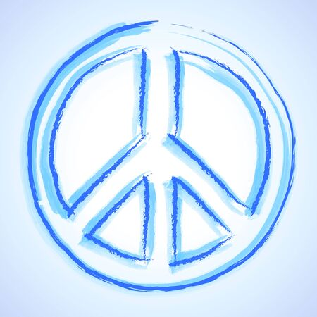 Watercolor - Peace Sign - Peace Symbol Blue World photo