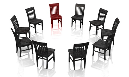 round chairs: Psychotherapy - The self-help group of black rot Stock Photo