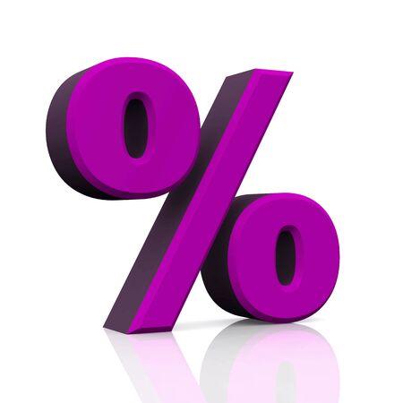 3D percent symbol Lilac