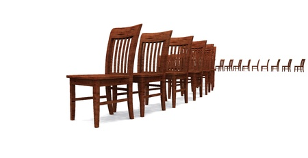 3D row of chairs - Brown 03 Stock Photo - 13921871