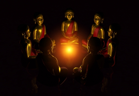 Meditation Circle of Seven Buddhas at night Stock Photo - 13921800
