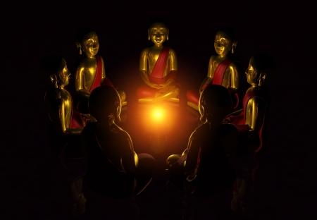 Meditation Circle of Seven Buddhas at night Stock Photo - 13921800