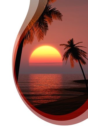 Invitation card with waves - Hot Sunset photo