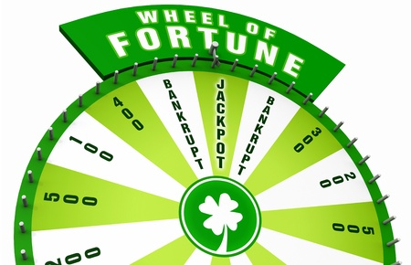 wheel of fortune: 3D Wheel of Fortune - Green White 02 Stock Photo