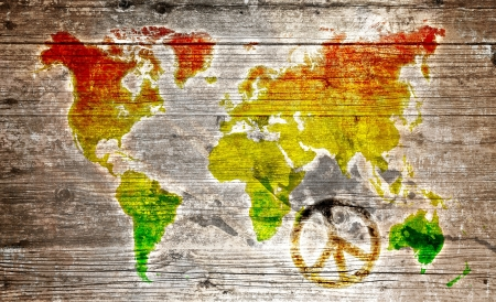 green peace: Wood Sign - rasta peace symbol to worldmap
