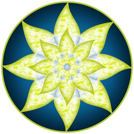 曼陀羅: マンダラ緑青い花 写真素材