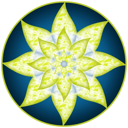 sexual chakra: Mandala Green Blue Flower