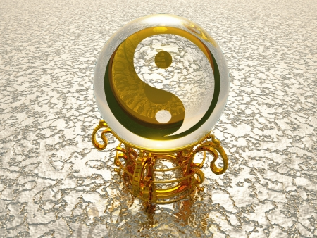 Golden 3D Yin Yang symbol on silver structure photo