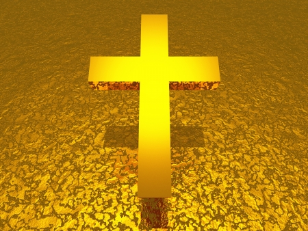 3D gold cross on a structure photo