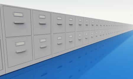filing cabinet: Database White - back in black Stock Photo